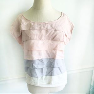 C. Luce Ruffle Short Sleeve Blouse Pink and Grey